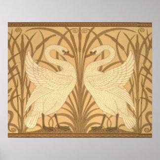 Diseño del papel pintado del cisne poster