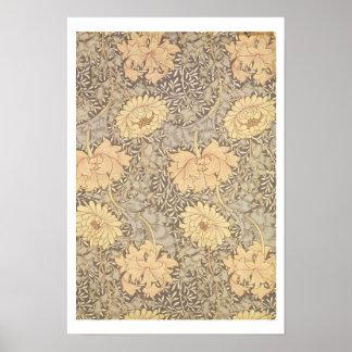 Diseño del papel pintado del crisantemo 1876 posters