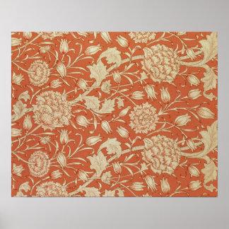 Diseño del papel pintado del tulipán 1875 posters