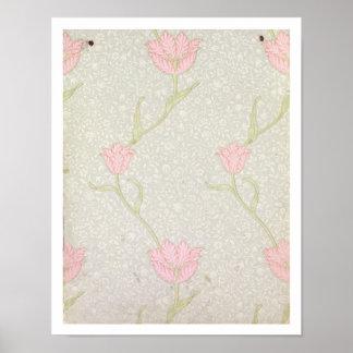 Diseño del papel pintado del tulipán del jardín poster
