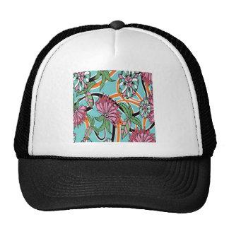 Diseño del papel pintado floral del verano gorras