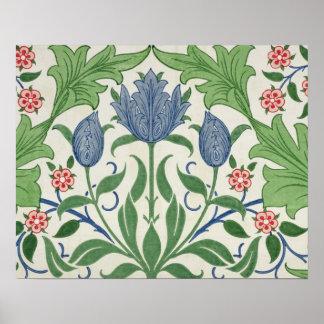 Diseño del papel pintado floral póster