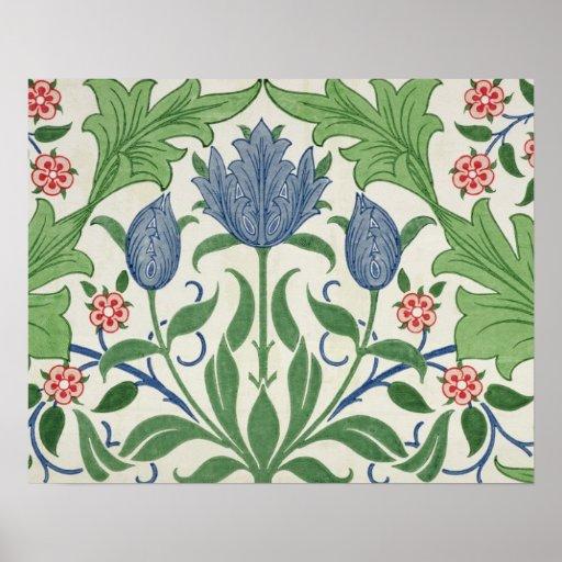 Diseño del papel pintado floral poster