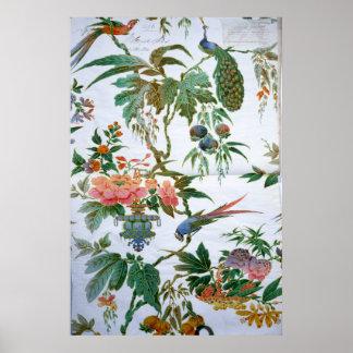 Diseño del papel pintado (flores) 1840 póster