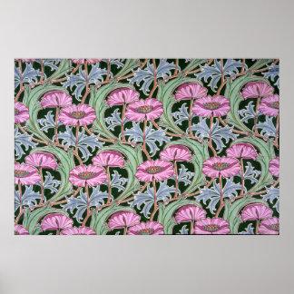 Diseño del papel pintado flores rosadas poster