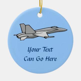 Diseño del piloto del avión del aeroplano del adorno navideño redondo de cerámica