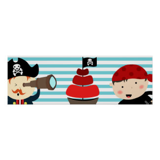Diseño del pirata con el fondo rayado póster