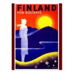Diseño del poster del viaje de Finlandia del vinta Tarjetas Postales