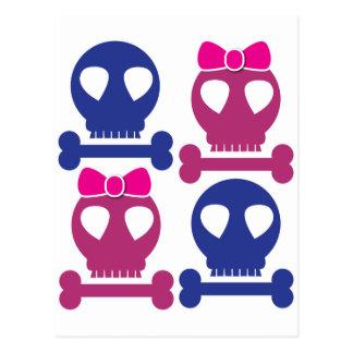 Diseño del Rockabilly de los cráneos del CHICA del Postal