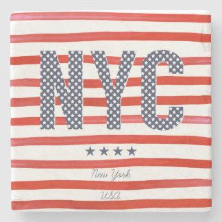 Diseño del rojo de NYC el |, blanco y azul Posavasos De Piedra