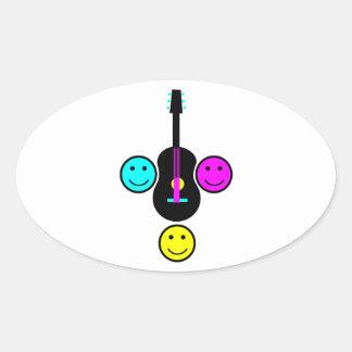 Diseño del smiley CMYK de la guitarra acústica Pegatinas Ovaladas