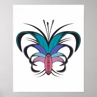 Diseño del tatuaje de la flor de mariposa póster