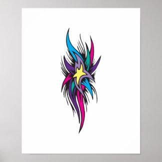 Diseño del tatuaje de las colas de la estrella póster