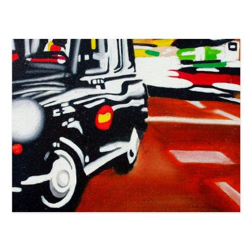 diseño del taxi del negro del taxi de Londres Tarjetas Postales