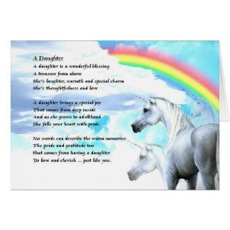 Diseño del unicornio - poema de la hija tarjeta de felicitación