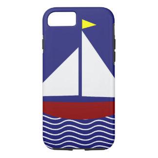 Diseño del velero de los azules marinos y del rojo funda iPhone 7