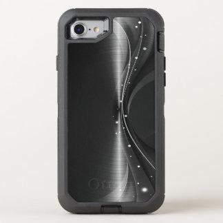 Diseño dinámico geométrico moderno metálico negro funda OtterBox defender para iPhone 8/7
