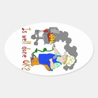 ¿Diseño divertido de la barbacoa - es hecho bien Calcomania Ovalada