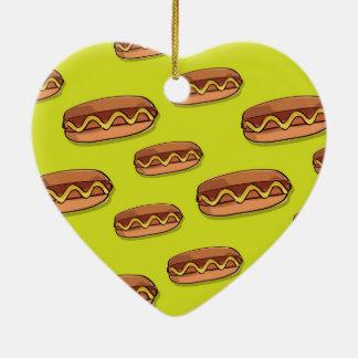 Diseño divertido de la comida de perrito caliente adorno de cerámica en forma de corazón