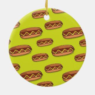 Diseño divertido de la comida de perrito caliente adorno redondo de cerámica