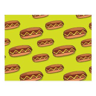 Diseño divertido de la comida de perrito caliente postal
