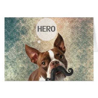 Diseño divertido de la foto del perro del bigote tarjeta de felicitación