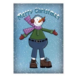 Diseño divertido del muñeco de nieve plantilla de tarjeta de visita
