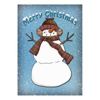 Diseño divertido del muñeco de nieve tarjeta personal