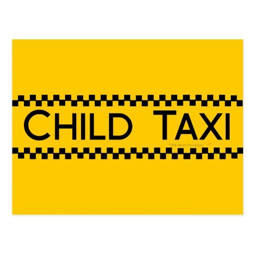 Diseño divertido del taxi del niño para conducir p tarjetas postales