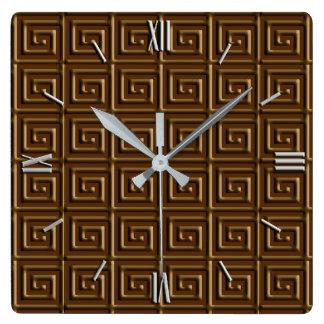 Diseño dominante griego - chocolate oscuro reloj cuadrado