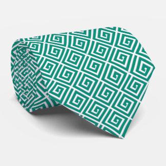 Diseño dominante griego - trullo y blanco corbatas personalizadas