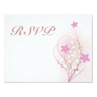 diseño elegante de la flor rosada suave bonita invitación 10,8 x 13,9 cm