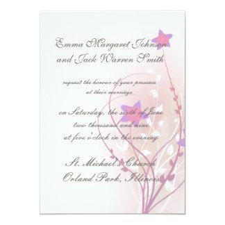 diseño elegante de la flor rosada suave bonita invitación 12,7 x 17,8 cm
