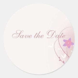 diseño elegante de la flor rosada suave bonita pegatina redonda