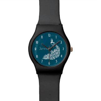 Diseño elegante del art déco del pavo real blanco reloj de pulsera