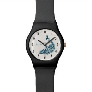 Diseño elegante del art déco del pavo real del reloj de pulsera