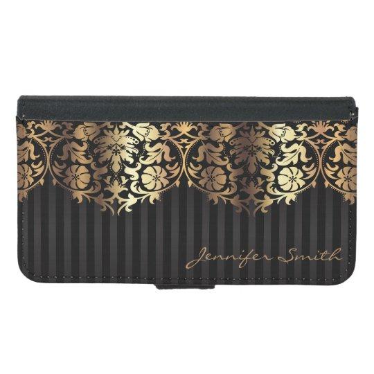 Diseño elegante del negro del damasco del oro carteras