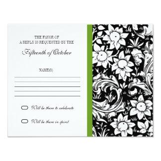 diseño elegante del rsvp de las flores del damasco invitación 10,8 x 13,9 cm