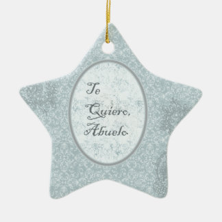 diseño elegante felicitación abuelo adorno navideño de cerámica en forma de estrella