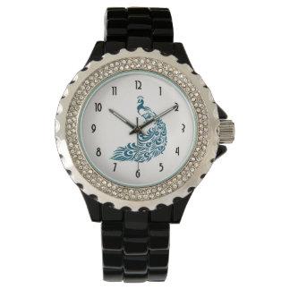 Diseño elegante intrépido del art déco del pavo reloj de pulsera