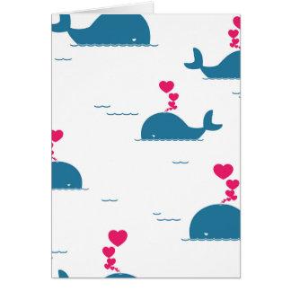 Diseño fabuloso de la ballena azul con los tarjeta de felicitación