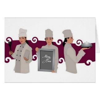 Diseño femenino del cocinero tarjeta de felicitación