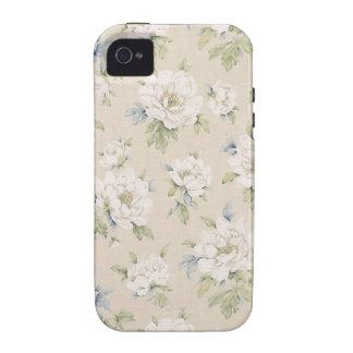 Diseño floral beige del vintage vibe iPhone 4 carcasa