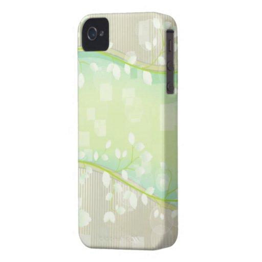 Diseño floral blanco elegante iPhone 4 cárcasa