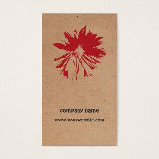 Diseño floral de Brown Kraft de la flor roja única Tarjeta De Negocios