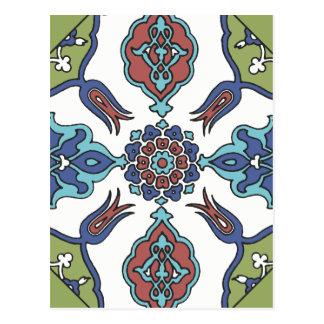 Diseño floral de la flor decorativa antigua postal