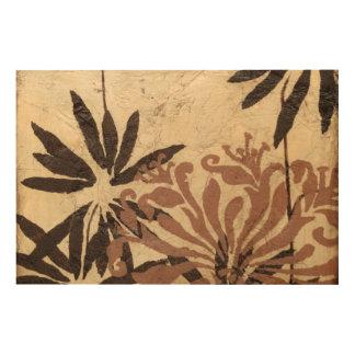 Diseño floral de la plantilla con las hojas impresión en madera