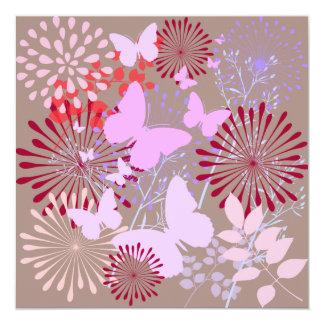 Diseño floral de la primavera del jardín de la invitación 13,3 cm x 13,3cm