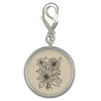 Diseño floral de Lineart del aerosol Dije Con Foto