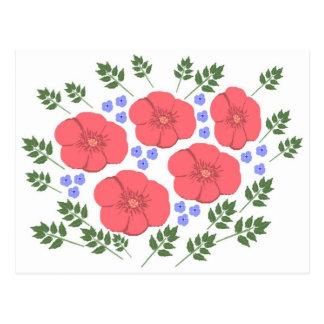 Diseño floral de los años 70 retros postal
